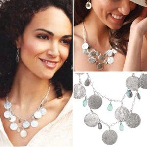 Stella & Dot Silver Coin Riviera Necklace